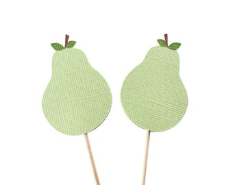 Pear Cupcake Toppers - Perfect Pair Wedding Shower - Perfect Pair Shower - Pear Party Picks - Pear Theme - Pear Birthday - Pear Cake Cupcake