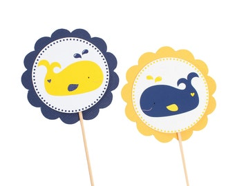 Yellow and Navy Nautical Whale Cupcake Toppers - Nautical Girl Party - Yellow and Navy Birthday - Whale Birthday - Whale Shower