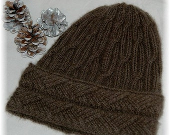 "Hat for Men / Women ""Malcolm Island"", hand knit in soft and extremely warm 100% Qiviut (Musk ox Under Down) with cabled band MADE TO ORDER"