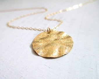 Gold disc necklace, gold necklace, bridal necklace, gold charm necklace, textured gold necklace, modern jewelry 14kt gold filled