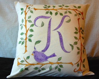 REDUCED 12.00!! Initial Pillow Slip Cover with Branches and Bird
