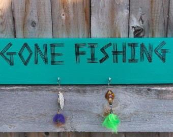 Gone Fishing Hand Painted Relcaimed Wood Sign Fishing Lure Adorned