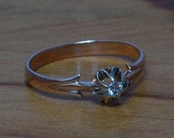 DEADsy LAST GASP SALE Rose Gold Flower Engagement Ring // Diamond, Vintage Gold Flower Soviet Engagement Ring