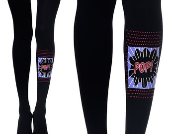 Funky print tights| Colorful Pop Up print on black designed tights| Printed Tights| Pop Art print| Free Shipping| F222-BMC