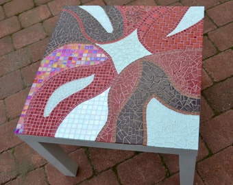 Side table coffe table with white red and brown glass mosaic top