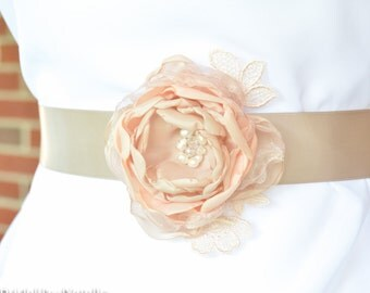 Bridal Sash for Dress - Bridesmaid Sash - Floral Bridal Sash - Flower Sash - Wedding Sash - Wedding Sash for Dress