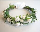 White Flower Crown, Fern Crown, Flower Crown, Boho Hairpiece, Woodland Wedding, Bridal Crown, Moss Head Wreath, Forest Wedding, SERENITY