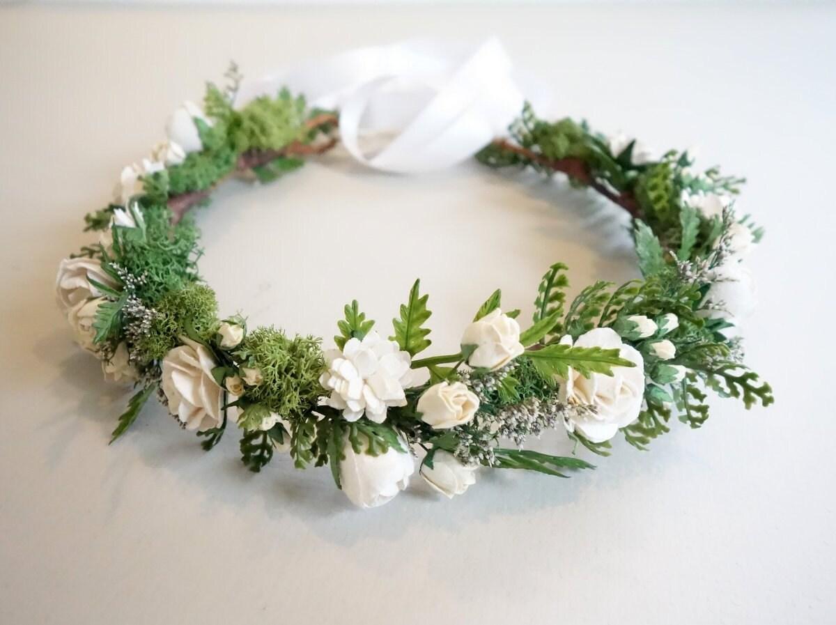 White Flower Crown Fern Crown Flower Crown Boho Hairpiece