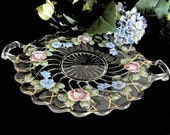 Vintage Hand Painted Handled Glass Cake Cookie Plate Flowers