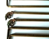 Six Small Antique Decorative Curtain Rods Leaf Motif