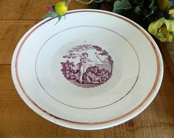 Antique Early 19th Century Staffordshire Pink Luster Transferware Bowl Classical Theme
