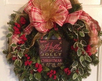 Holly Red Berry Christmas Wreath