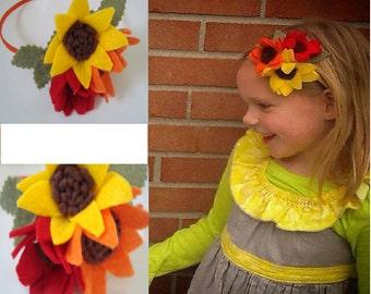 Bright trio, felt flower headband