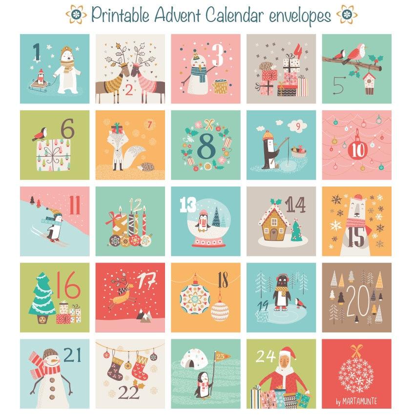 Advent Calendar Printables : Printable advent calendar mini envelopes christmas