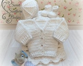 Baby Boy Christening Set - Baby Shower Gift Set -  Pure White - Sweater/blanket/Booties/Beanie - Ready to Ship