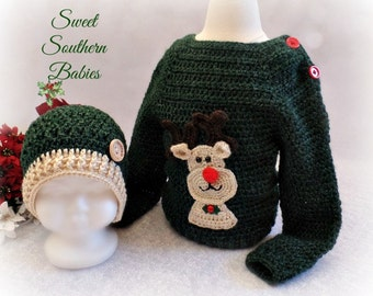Baby and Toddler Rudolph Sweater and matching hat - Newborn to 3T