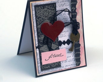 French collage card, Paris, je Taime, Love, romantic blank card, red heart, key charm