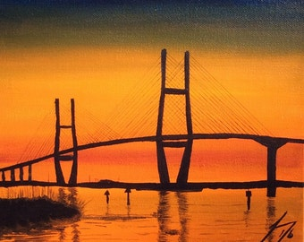 Sidney Lanier Bridge to Jekyll Island - Original Painting on Gallery Wrap Canvas
