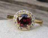 Garnet Ring- Engagement Ring- Silver Garnet Ring- January Birthstone Ring- Halo Ring- Gemstone Rings- Promise Rings- Ring