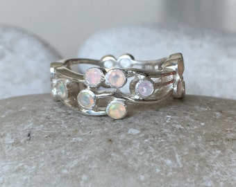 Womens Wedding Opal Band- Statement Opal Band- Unique Wide Band- Opal Branch Ring- October Birthstone Ring- Multistone Opal Ring