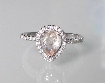 Pear Shape Morganite Ring- Engagement Ring- Promise Ring- Halo Morganite Ring- Gemstone Ring- Stone Ring- Tear Shape Ring- Ring