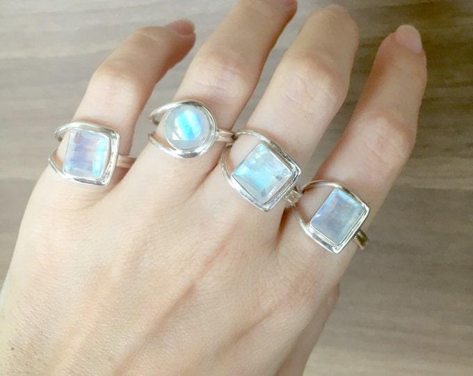 Asymmetrical Rainbow Moonstone Ring- June Birthstone Ring- Bohemian Sterling Silver Ring- Unique Moonstone Rings- Statement Moonstone Ring