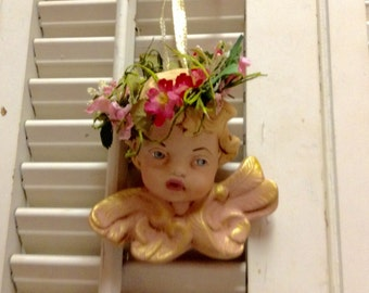 """Angel Cherub Christmas ornament Old World finish 4""""x4"""" Vintage hand painted collectable Shabby Chic Tree ornament"""