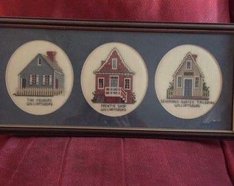 Framed Cross Stitch - Williamsburg Homes - Trio of Homes - Finished Cross Stitch - Wall Hanging