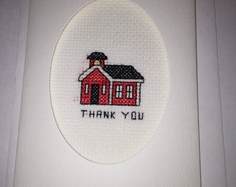 Finished Cross Stitch Schoolhouse Thank You Card For Teacher