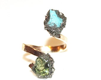Druzy Ring Blue Drusy Ring Modern Ring Two Stone Ring Gold Ring Turquoise Ring Druzy Jewelry Hammered Ring Crystal Ring Drussy Ring Apatite