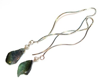 Green Watermelon Tourmaline Earring Wavy Ear Thread Earring Green Tourmaline Jewelry Long Earrings Delicate Tourmaline Slice Silver Earrings
