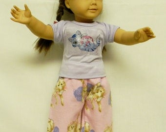 Kitten Flannel Pajamas For 18 Inch Doll Like The American Girl