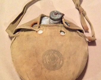 Vintage 1950s Boy Scout National Council Metal Canteen in Canvas Carrier