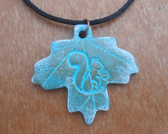 Squirrel on a Maple Leaf Necklace