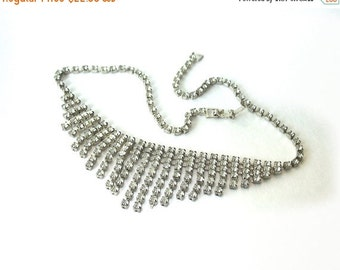 Vintage Necklace Choker Clear Rhinestone 16""