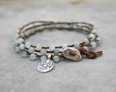 Beaded Wrap Bracelet - Yoga Bracelet - Bohemian Wrap - Aquamarine Gemstone Bracelet -  Ganesh Charm