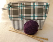 Turquoise Vintage Plaid and Floral Project Bag