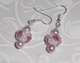 Rose Pink Pearl Earrings