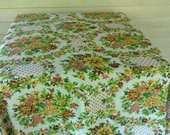 """Vintage Brown, Gold, Orange & Green Floral Print Fabric Tablecloth 57""""x63 Retro Tablecloth"""