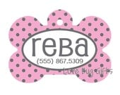 Personalized pet tag - Pink and Gray polka dots
