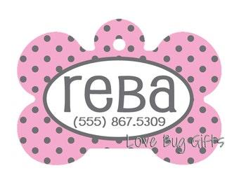 Personalized pet tag - Pink and Gray polka dots