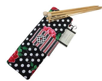Straight Knitting Needle Case - Needle Holder - Needle Organizer - Knitting Supply - Michael Miller - Floral Polka Dot - Knitting Gift Ideas
