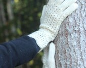 Hand Knitted Gloves, natural white, Elegant Arm Warmers Gloves With Fingers, Fot Her, Gift Ideas, Winter Accessories, Winter Fashion Trends