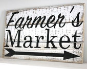 Farmer's Market Reclaimed Pallet Wood Sign Rustic Decor Farmhouse Housewarming Gift Vintage Kitchen Decor
