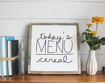 Today's Menu Wood Sign, Kitchen Decor, Housewarming Gift, Contemporary, Country Decor, Farmhouse Decor