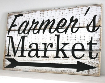 Farmer's Market Wood Sign, Kitchen Decor, Distressed, Farmhouse Decor, Country, Rustic Decor
