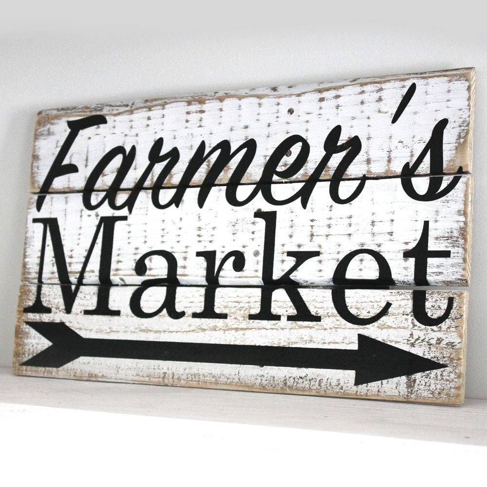 Farmer 39 s market wood sign kitchen decor distressed for Decor market reviews