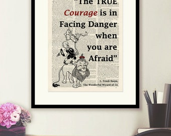 Wizard of Oz Lion Quote Print- vintage book page print image on a page from an Upcycled late 1800s Dictionary Buy 3 get 1 Free.