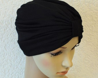 Women's chemo turban hat, black rayon viscose jersey turban for women, full turban, chemo hats and caps, choose the colour