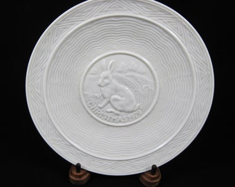 Belleek Porcelain Christmas Plate, A Hare At Rest, 1979 Ltd 2nd Edition, Ireland, Collector Plate